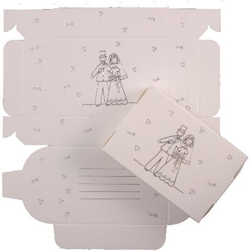 Cake Boxes - Silver  Bride & Groom Design pack of 8