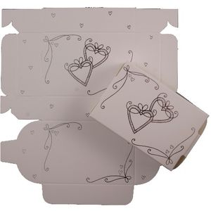 Cake Boxes - Silver Hearts Design x8