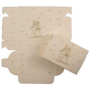 Cake Boxes - Gold Bride & Groom Design x8