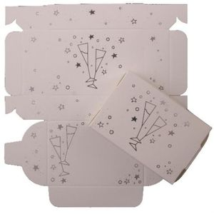 Cake Boxes - Silver Glasses Design x8