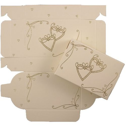 Cake Boxes - Gold  Hearts Design. Pack of 8