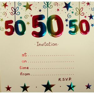 50th Birthday Party Invitations with envelopes x10