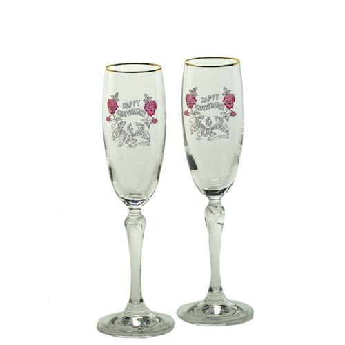 Happy Anniversary Glass Flutes in presentation gift box