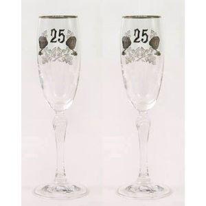 25th Silver Wedding Anniversary Glass Flutes