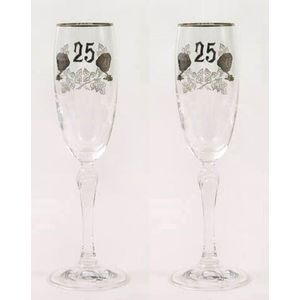 Glass Flutes Set - 25th Silver Wedding Anniversary