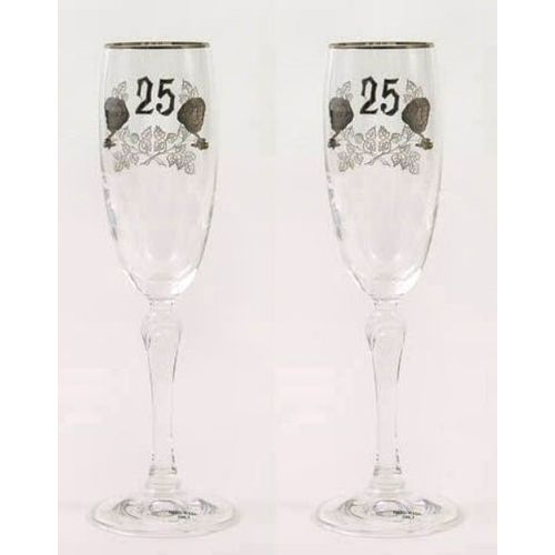 25th Silver Wedding Anniversary Gift Glass  Flutes