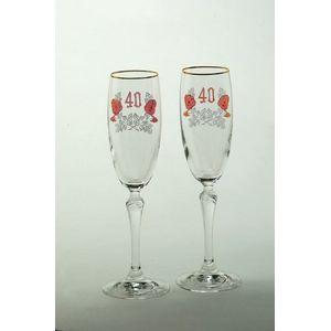 Glass Flutes Set - 40th Ruby Wedding Anniversary