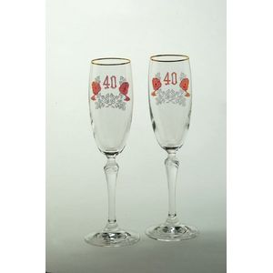 Pair of Ruby 40th Anniversary Flutes