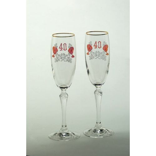 Ruby 40th Anniversary Crystal Flutes