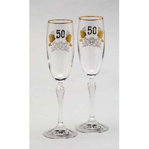 50th Golden Anniversary Gift - Glass Flutes
