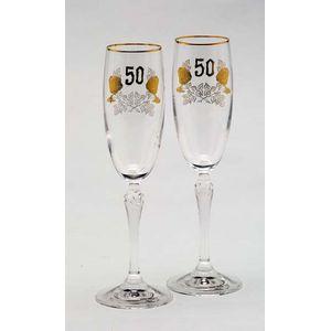 Glass Flutes Set - 50th Golden Wedding Anniversary