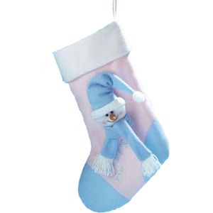 Babys 1st Fabric Snowman Christmas Stocking (Blue hat)
