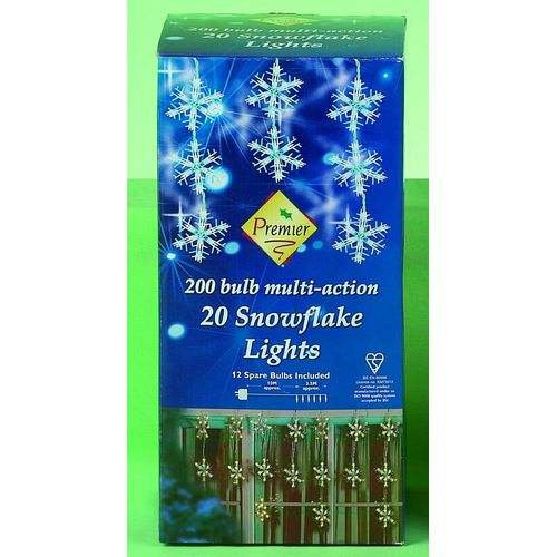 20 Multi Action Snow Flake Lights Suitable for Indoor and Outdoor Use