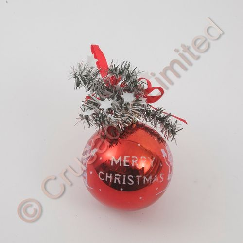 Merry Christmas Santa Red Glitter Tree Decoration