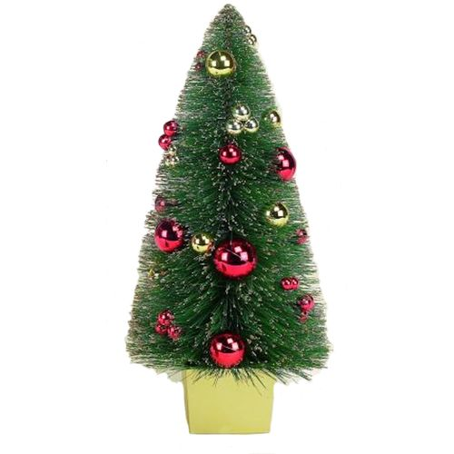 Decorative Christmas Tree in Pot 61cm - Gold Frosted Tree with Baubles