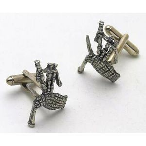 English Pewter Bagpipes Cufflinks