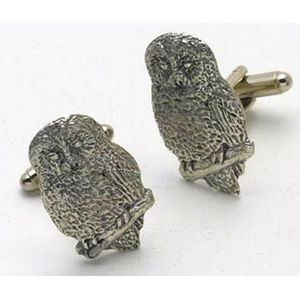 English Pewter Owl Cufflinks