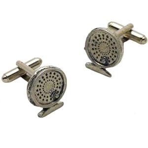 English Pewter Fishing Reel Cufflinks