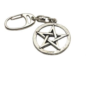 English Pewter Pentangle Star Keyring
