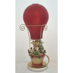 Christmas Tea Light Candle Holder - Santa in Balloon