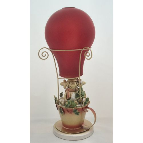 "13"" Santa in Air Balloon Tealight Candle Holder"