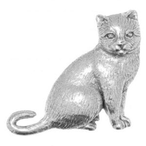 English Pewter Cat Sitting Tie Pin or Lapel Badge