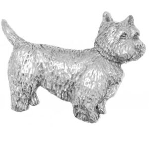 English Pewter Westie Dog Tie Pin or Lapel Badge