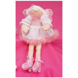 Christmas Decoration - Plush Soft Toy White Sitting Angel