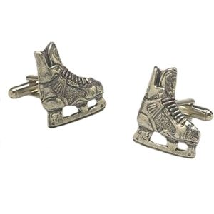 English Pewter Ice Hockey Boots Cufflinks