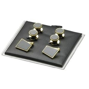 Gold Plated Black Onyx Cufflinks & Dress Shirt Studs