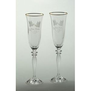 Golden Wedding Glass Flute Set