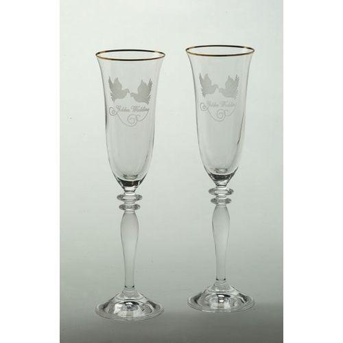 Golden Wedding Glass Flute Set