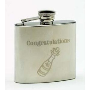 Harvey Makin 4oz Stainless Steel Hip Flask - Congratulations