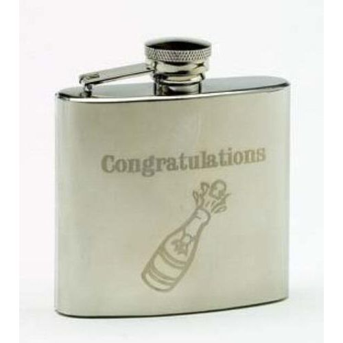 4oz Stainless steel Congratulations Hipflask