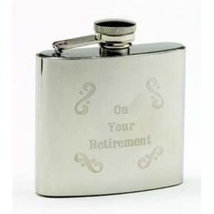 Retirement Gift engraved 4oz Hip Flask