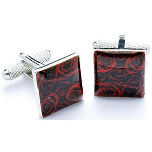 Red Rose Patterned Dress Cufflinks