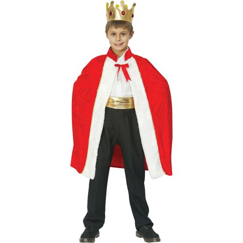 Childs King Robe & Crown Fancy Dress Costume Age 7-9 Years