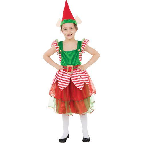 Kids Elf Girl Costume Xmas Christmas Fancy Dress Hat Age 4 - 6 Years