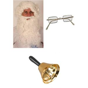 Santa Costume Accessory Set - Wig Beard Glasses & Bell