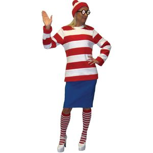Red & White Striped Woman Ex Hire Costume Size 12-14