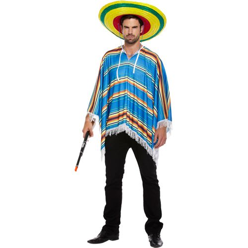 Blue Mexican Poncho Fancy Dress Costume Free Size