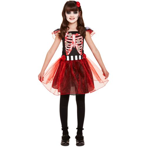Childs Skeleton Girl Halloween Fancy Dress Costume Age 7-9 Years