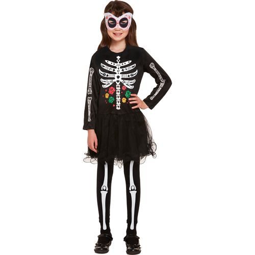 Childs Day of the Dead Girls Halloween Fancy Dress Costume Age 7-9 Years