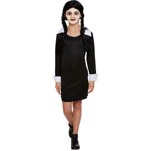 Childs Scary Daughter Wednesday Addams Halloween Fancy Dress Costume Age 4-6 Years