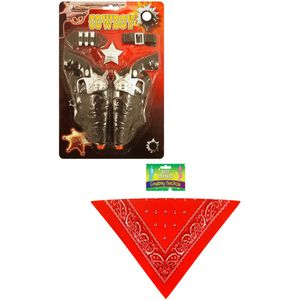 Twin Gun Cowboy Accessory Set With Bandana Neckerchief