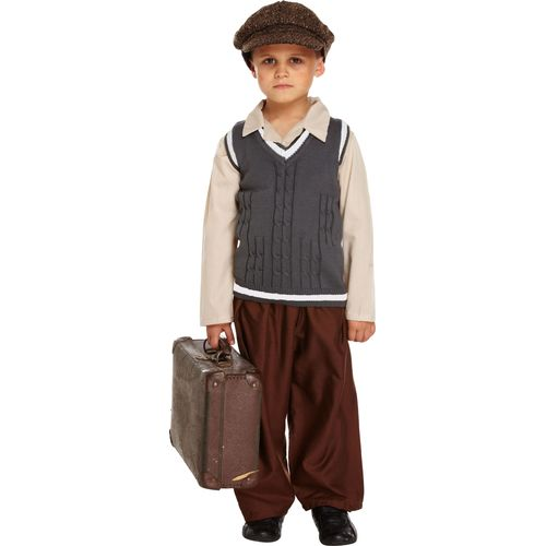 Childs Evacuee Boy Fancy Dress Costume Age 7-9 Years