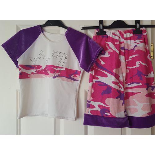 Bold Print Dance Top & Shorts Dancewear Pink Purple Camo Style