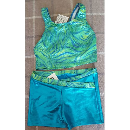 Girls Lycra Hot Pants & Crop Top Dance Outfit 12 Years