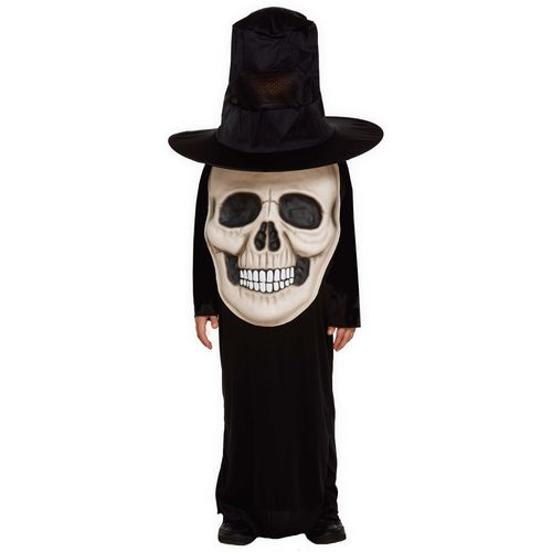 Childs Skull Jumbo Face Halloween Fancy Dress Costume Age 4-6 Years
