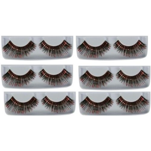Black & Red Eyelashes 6 Pack Fancy Dress Costume Accessory